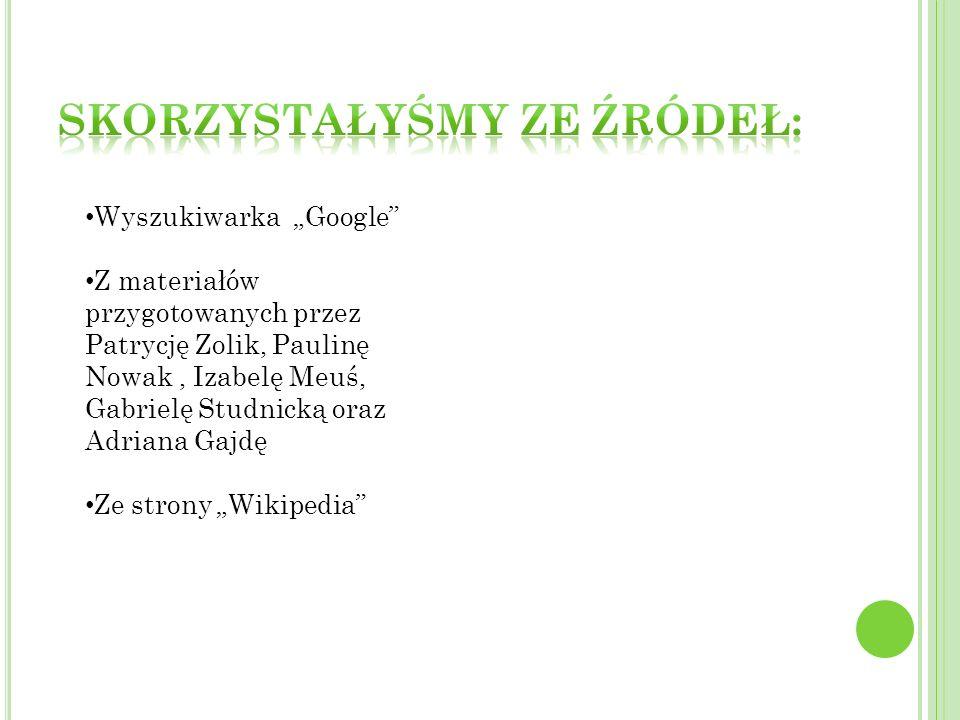 Wyszukiwarka Google Z materiałów przygotowanych przez Patrycję Zolik, Paulinę Nowak, Izabelę Meuś, Gabrielę Studnicką oraz Adriana Gajdę Ze strony Wik