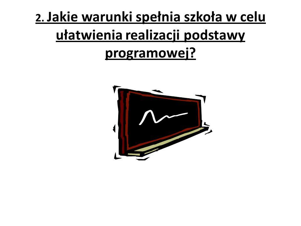 2. Jakie warunki spełnia szkoła w celu ułatwienia realizacji podstawy programowej?