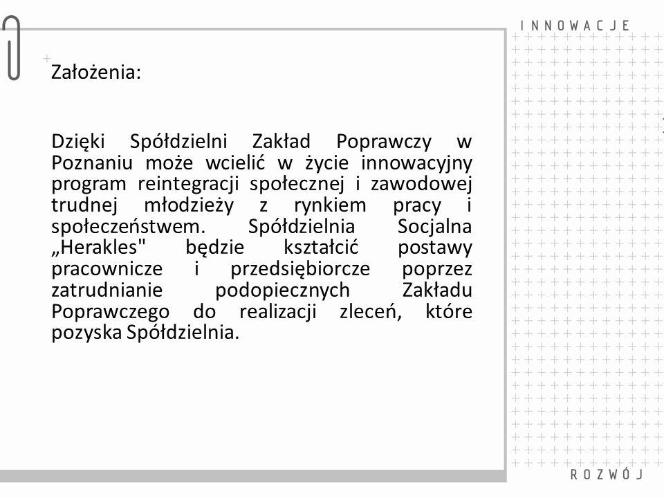 Założenia: Dzięki Spółdzielni Zakład Poprawczy w Poznaniu może wcielić w życie innowacyjny program reintegracji społecznej i zawodowej trudnej młodzie