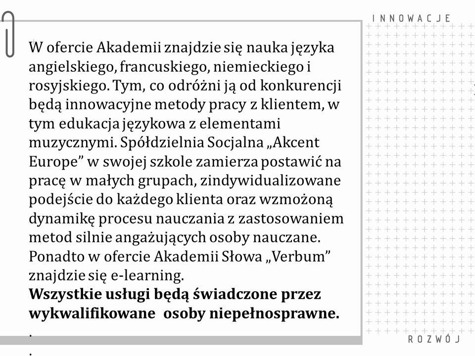 W ofercie Akademii znajdzie się nauka języka angielskiego, francuskiego, niemieckiego i rosyjskiego. Tym, co odróżni ją od konkurencji będą innowacyjn