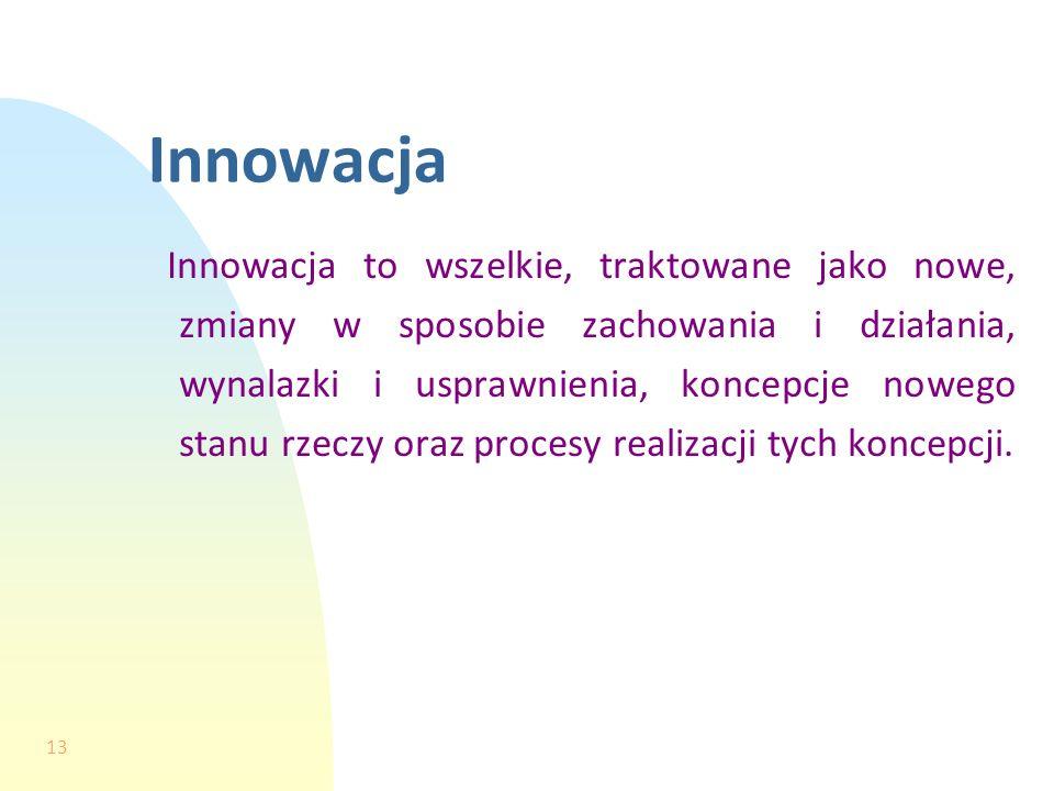 13 Innowacja Innowacja to wszelkie, traktowane jako nowe, zmiany w sposobie zachowania i działania, wynalazki i usprawnienia, koncepcje nowego stanu r