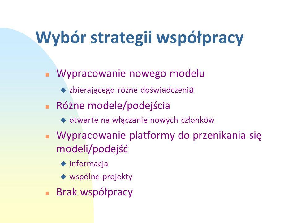 Wybór strategii współpracy n Wypracowanie nowego modelu u zbierającego różne doświadczeni a n Różne modele/podejścia u otwarte na włączanie nowych czł
