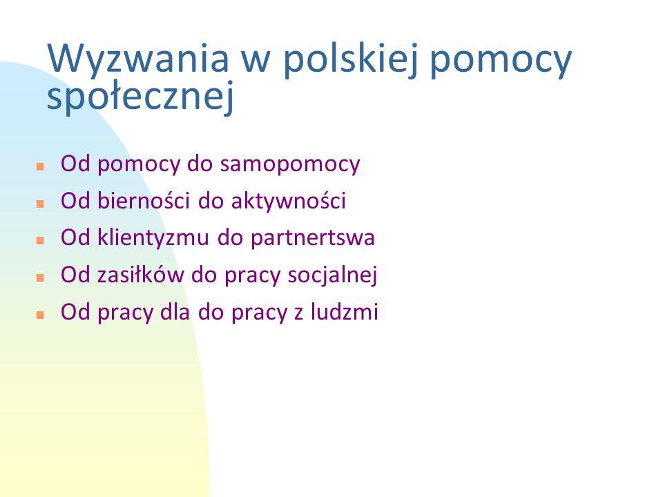 Wyzwania w polskiej pomocy społecznej n Od pomocy do samopomocy n Od bierności do aktywności n Od klientyzmu do partnertswa n Od zasiłków do pracy soc
