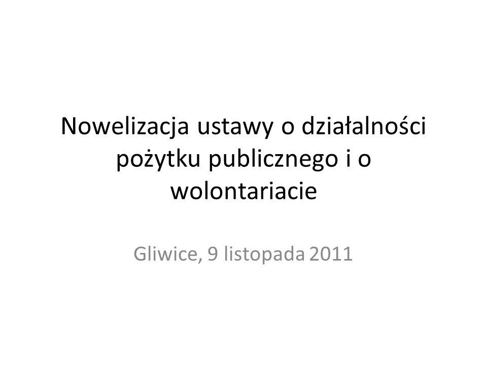 Nowelizacja ustawy o działalności pożytku publicznego i o wolontariacie Gliwice, 9 listopada 2011