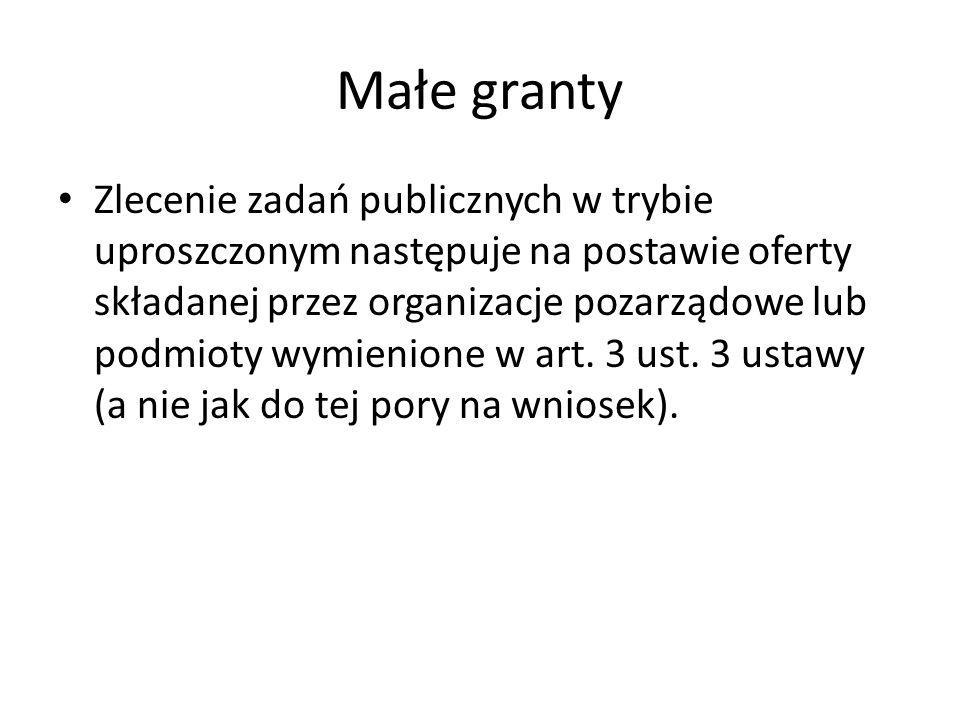 Małe granty Zlecenie zadań publicznych w trybie uproszczonym następuje na postawie oferty składanej przez organizacje pozarządowe lub podmioty wymienione w art.