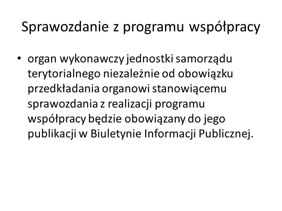 Sprawozdanie z programu współpracy organ wykonawczy jednostki samorządu terytorialnego niezależnie od obowiązku przedkładania organowi stanowiącemu sprawozdania z realizacji programu współpracy będzie obowiązany do jego publikacji w Biuletynie Informacji Publicznej.