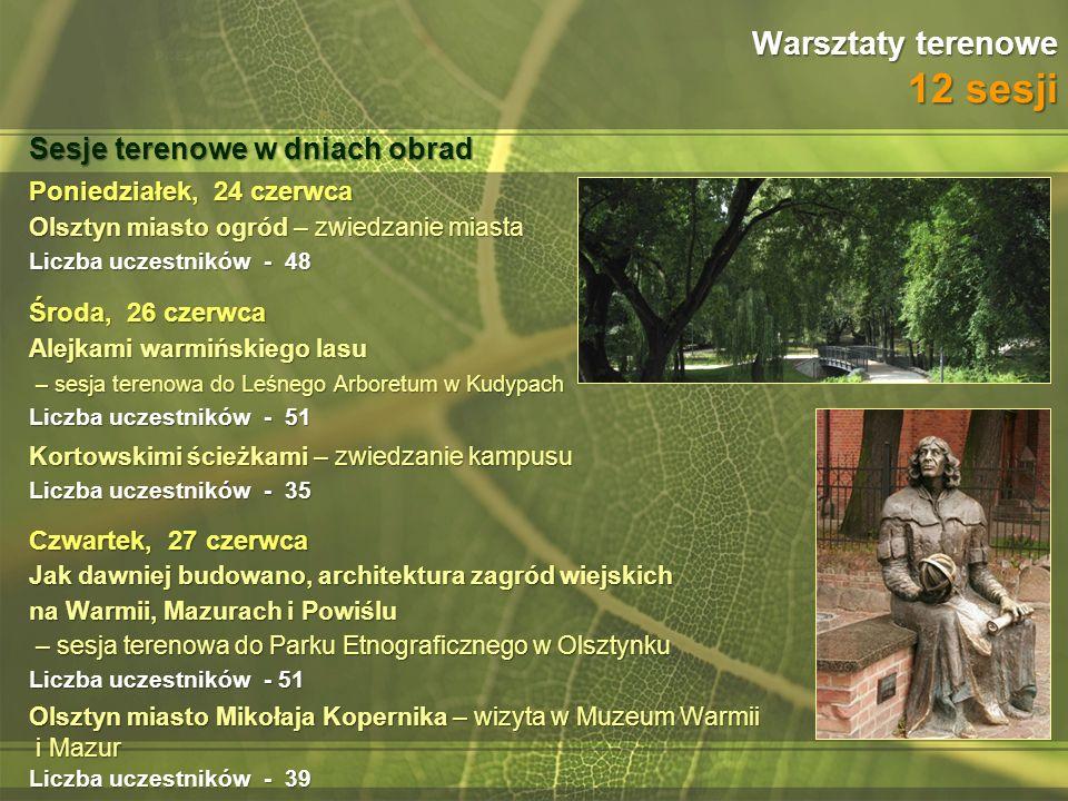 Warsztaty terenowe 12 sesji Poniedziałek, 24 czerwca Olsztyn miasto ogród – zwiedzanie miasta Liczba uczestników - 48 Środa, 26 czerwca Alejkami warmi