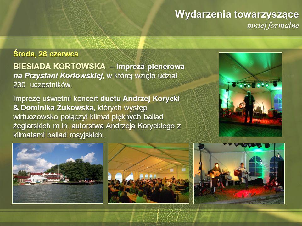 Wydarzenia towarzyszące mniej formalne BIESIADA KORTOWSKA – impreza plenerowa na Przystani Kortowskiej, w której wzięło udział 230 uczestników. Imprez