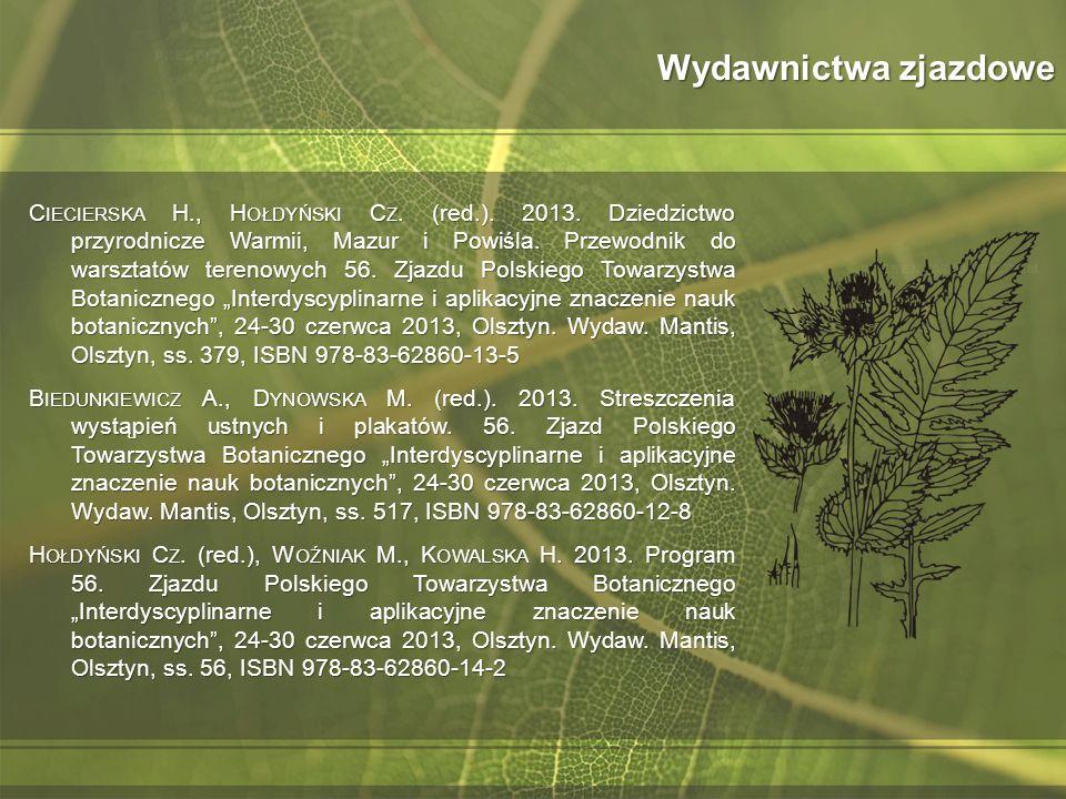 Wydawnictwa zjazdowe C IECIERSKA H., H OŁDYŃSKI C Z. (red.). 2013. Dziedzictwo przyrodnicze Warmii, Mazur i Powiśla. Przewodnik do warsztatów terenowy