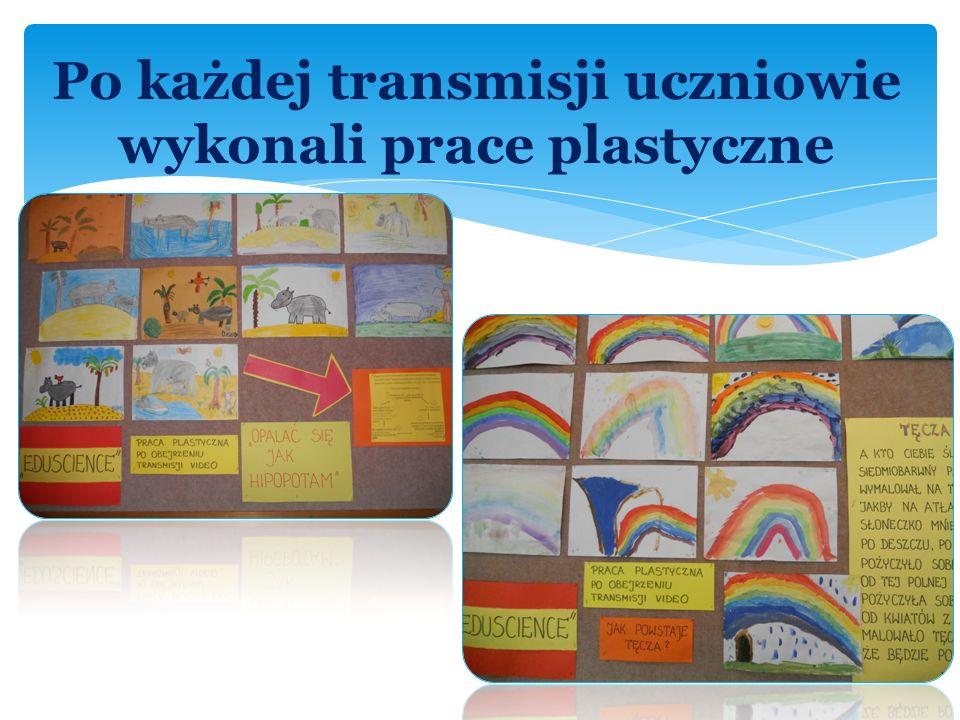 Po każdej transmisji uczniowie wykonali prace plastyczne
