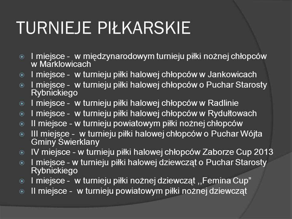 TURNIEJE PIŁKARSKIE I miejsce - w międzynarodowym turnieju piłki nożnej chłopców w Marklowicach I miejsce - w turnieju piłki halowej chłopców w Jankow