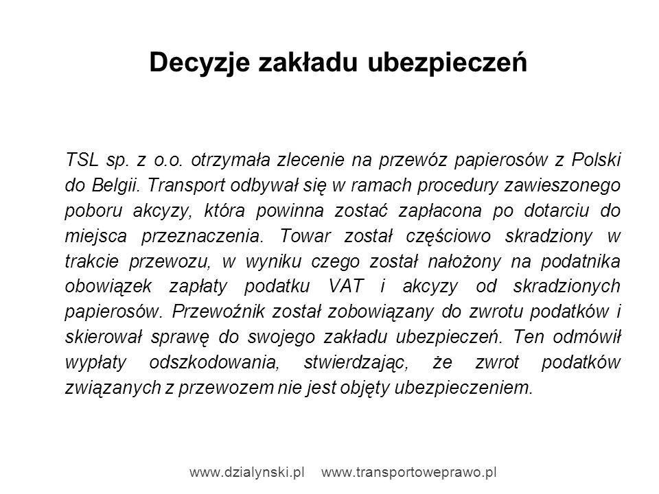 Decyzje zakładu ubezpieczeń TSL sp. z o.o. otrzymała zlecenie na przewóz papierosów z Polski do Belgii. Transport odbywał się w ramach procedury zawie