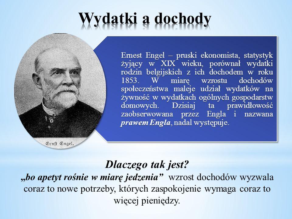 Ernest Engel – pruski ekonomista, statystyk żyjący w XIX wieku, porównał wydatki rodzin belgijskich z ich dochodem w roku 1853. W miarę wzrostu dochod