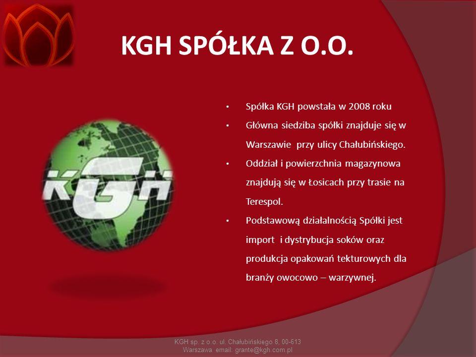 KGH SPÓŁKA Z O.O. KGH sp. z o.o. ul. Chałubińskiego 8, 00-613 Warszawa email: grante@kgh.com.pl Spółka KGH powstała w 2008 roku Główna siedziba spółki