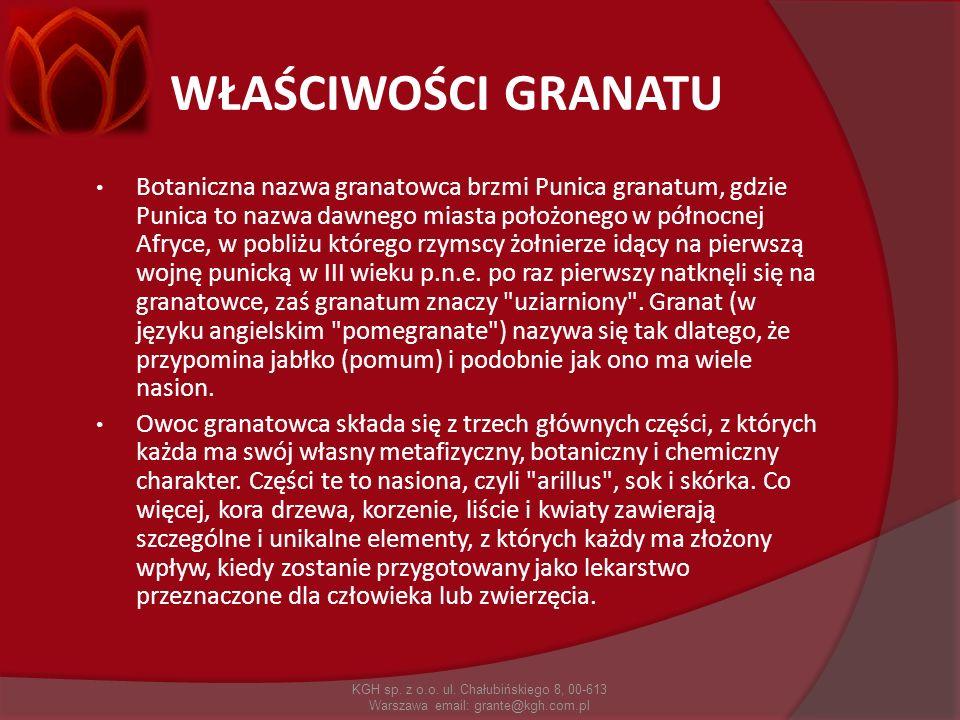 WŁAŚCIWOŚCI GRANATU Botaniczna nazwa granatowca brzmi Punica granatum, gdzie Punica to nazwa dawnego miasta położonego w północnej Afryce, w pobliżu k
