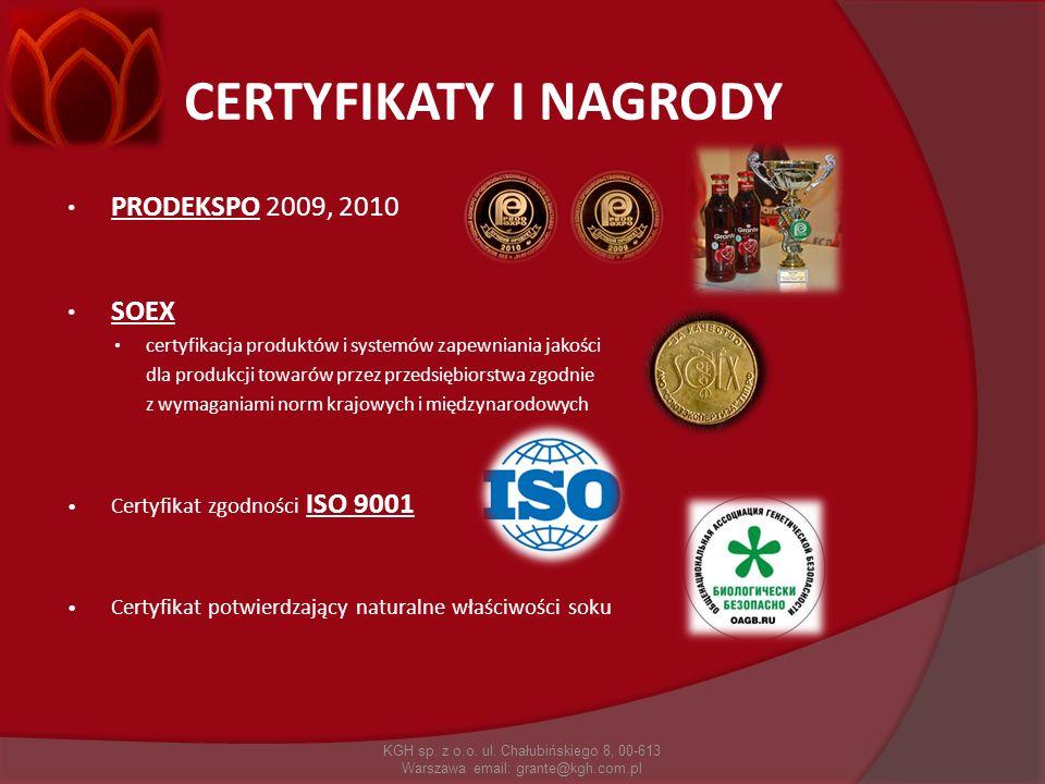 CERTYFIKATY I NAGRODY PRODEKSPO 2009, 2010 SOEX certyfikacja produktów i systemów zapewniania jakości dla produkcji towarów przez przedsiębiorstwa zgo