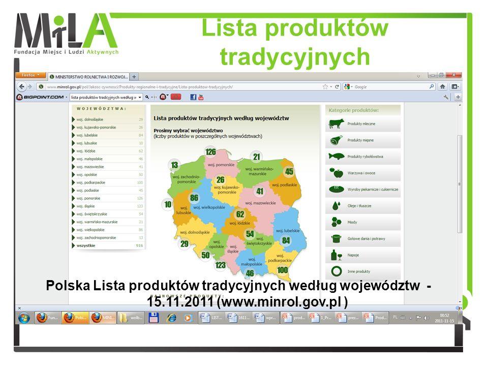 Lista produktów tradycyjnych Polska Lista produktów tradycyjnych według województw - 15.11.2011 (www.minrol.gov.pl )