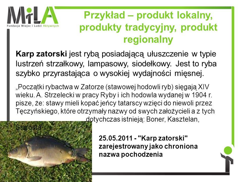 Przykład – produkt lokalny, produkty tradycyjny, produkt regionalny Karp zatorski jest rybą posiadającą ułuszczenie w typie lustrzeń strzałkowy, lampa