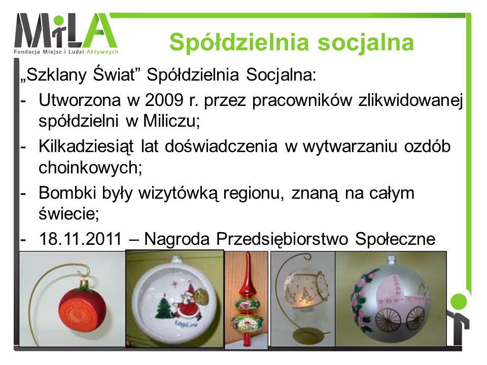 Spółdzielnia socjalna Szklany Świat Spółdzielnia Socjalna: -Utworzona w 2009 r. przez pracowników zlikwidowanej spółdzielni w Miliczu; -Kilkadziesiąt