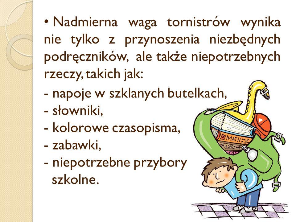 - napoje w szklanych butelkach, - słowniki, - kolorowe czasopisma, - zabawki, - niepotrzebne przybory szkolne.
