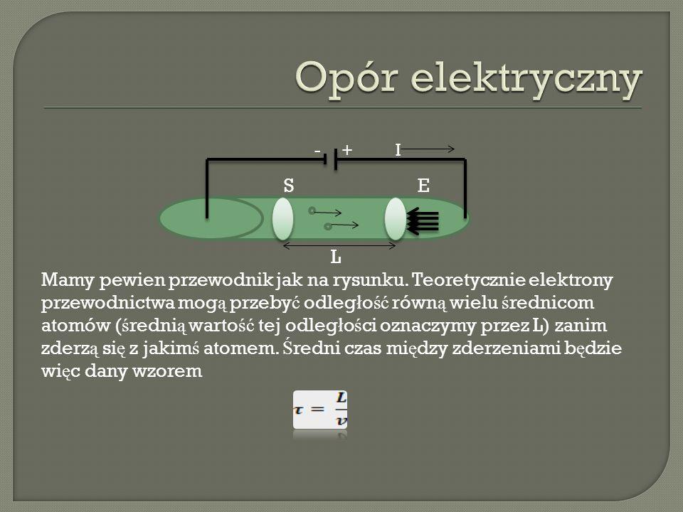 - + I S E L Mamy pewien przewodnik jak na rysunku. Teoretycznie elektrony przewodnictwa mog ą przeby ć odleg ł o ść równ ą wielu ś rednicom atomów ( ś