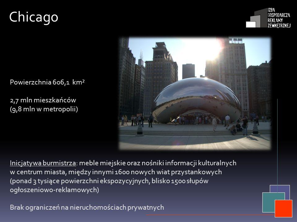 Chicago Inicjatywa burmistrza: meble miejskie oraz nośniki informacji kulturalnych w centrum miasta, między innymi 1600 nowych wiat przystankowych (po