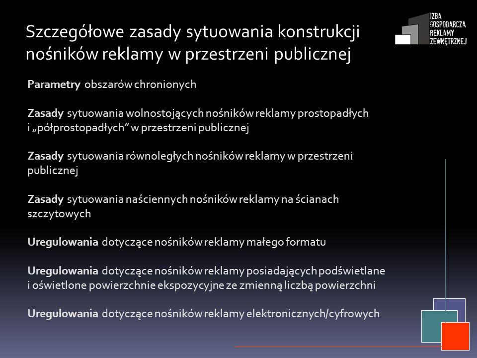 Szczegółowe zasady sytuowania konstrukcji nośników reklamy w przestrzeni publicznej Parametry obszarów chronionych Zasady sytuowania wolnostojących no