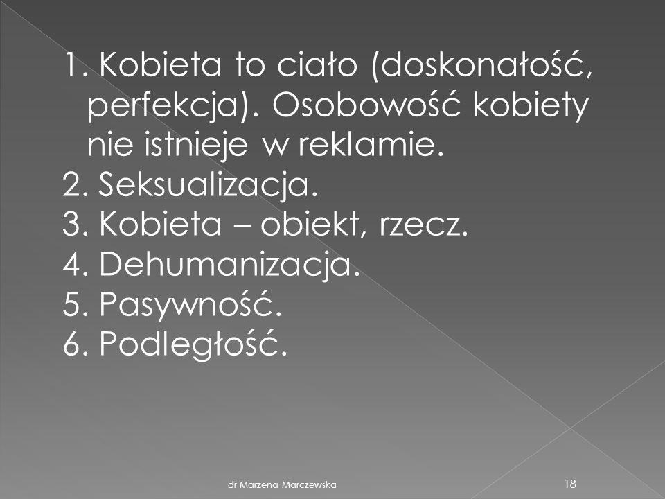 dr Marzena Marczewska 18 1. Kobieta to ciało (doskonałość, perfekcja). Osobowość kobiety nie istnieje w reklamie. 2. Seksualizacja. 3. Kobieta – obiek