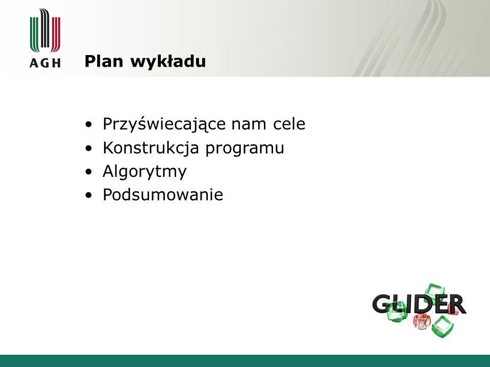 Plan wykładu Przyświecające nam cele Konstrukcja programu Algorytmy Podsumowanie
