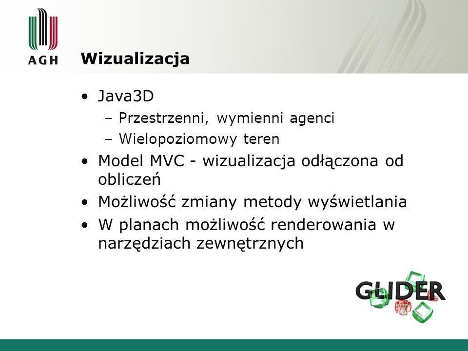 Wizualizacja Java3D –Przestrzenni, wymienni agenci –Wielopoziomowy teren Model MVC - wizualizacja odłączona od obliczeń Możliwość zmiany metody wyświetlania W planach możliwość renderowania w narzędziach zewnętrznych