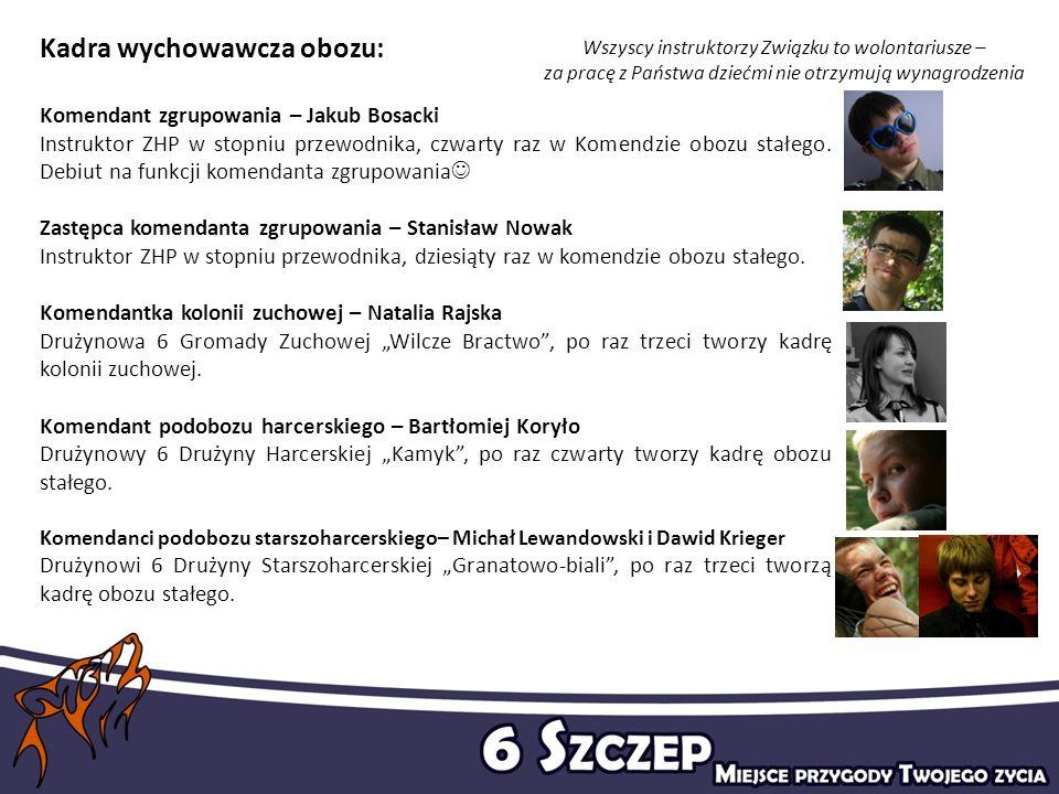 Kadra wychowawcza obozu: Komendant zgrupowania – Jakub Bosacki Instruktor ZHP w stopniu przewodnika, czwarty raz w Komendzie obozu stałego. Debiut na