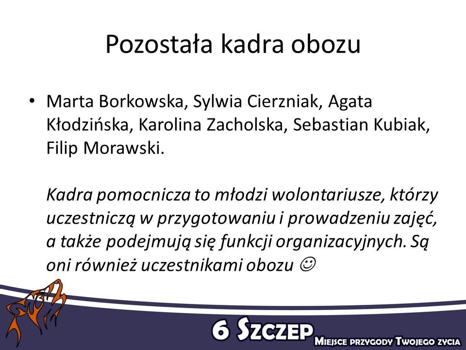 Pozostała kadra obozu Marta Borkowska, Sylwia Cierzniak, Agata Kłodzińska, Karolina Zacholska, Sebastian Kubiak, Filip Morawski. Kadra pomocnicza to m