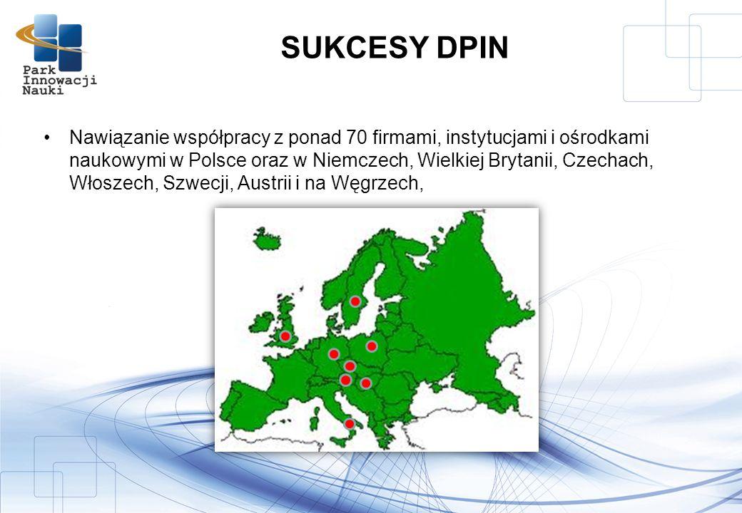 Nawiązanie współpracy z ponad 70 firmami, instytucjami i ośrodkami naukowymi w Polsce oraz w Niemczech, Wielkiej Brytanii, Czechach, Włoszech, Szwecji, Austrii i na Węgrzech, SUKCESY DPIN