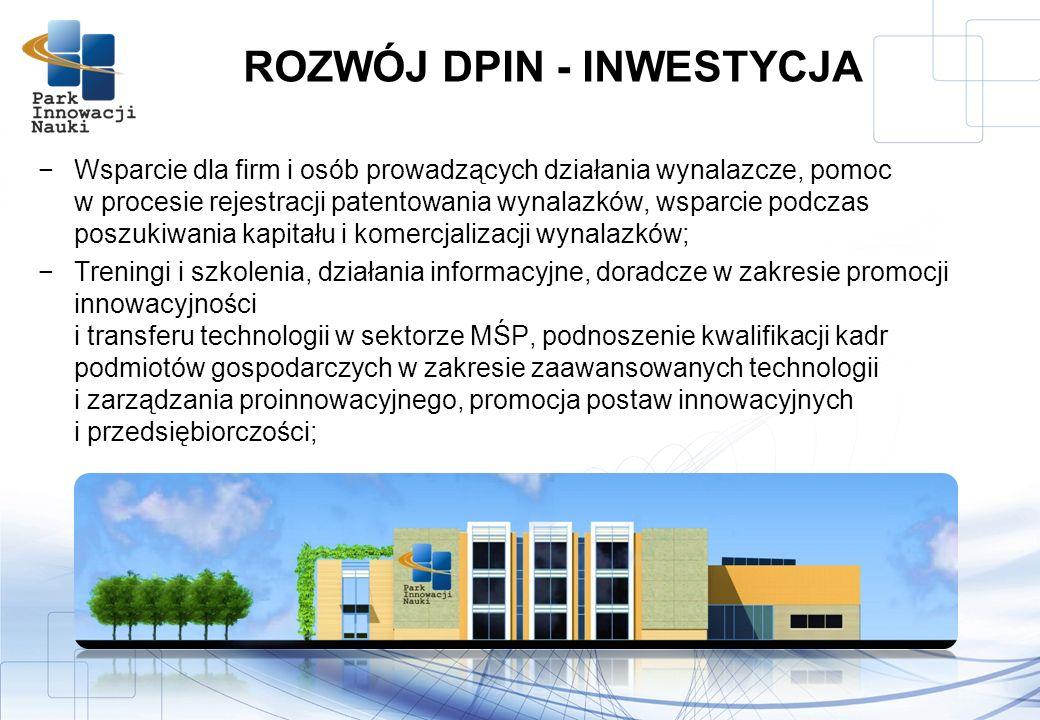 Wsparcie dla firm i osób prowadzących działania wynalazcze, pomoc w procesie rejestracji patentowania wynalazków, wsparcie podczas poszukiwania kapitału i komercjalizacji wynalazków; Treningi i szkolenia, działania informacyjne, doradcze w zakresie promocji innowacyjności i transferu technologii w sektorze MŚP, podnoszenie kwalifikacji kadr podmiotów gospodarczych w zakresie zaawansowanych technologii i zarządzania proinnowacyjnego, promocja postaw innowacyjnych i przedsiębiorczości; ROZWÓJ DPIN - INWESTYCJA