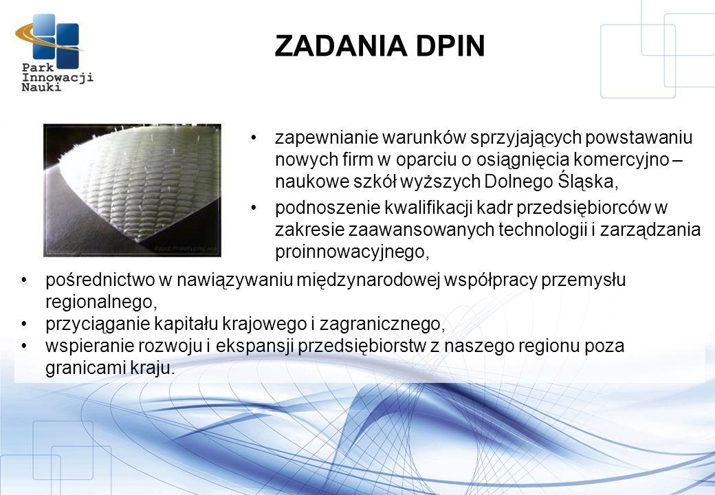 zapewnianie warunków sprzyjających powstawaniu nowych firm w oparciu o osiągnięcia komercyjno – naukowe szkół wyższych Dolnego Śląska, podnoszenie kwalifikacji kadr przedsiębiorców w zakresie zaawansowanych technologii i zarządzania proinnowacyjnego, ZADANIA DPIN pośrednictwo w nawiązywaniu międzynarodowej współpracy przemysłu regionalnego, przyciąganie kapitału krajowego i zagranicznego, wspieranie rozwoju i ekspansji przedsiębiorstw z naszego regionu poza granicami kraju.