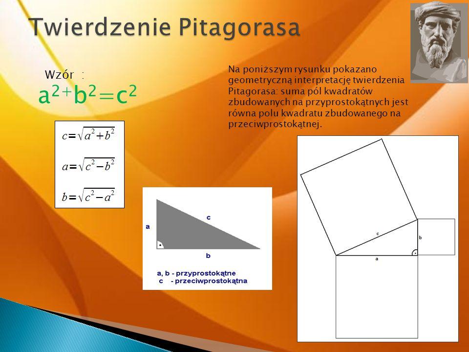 Wzór : Na poniższym rysunku pokazano geometryczną interpretację twierdzenia Pitagorasa: suma pól kwadratów zbudowanych na przyprostokątnych jest równa