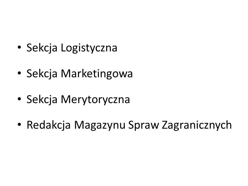 Sekcja Logistyczna Sekcja Marketingowa Sekcja Merytoryczna Redakcja Magazynu Spraw Zagranicznych