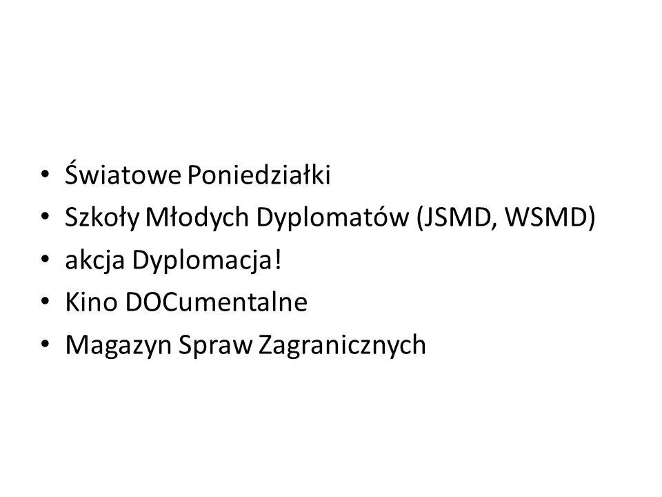 Światowe Poniedziałki Szkoły Młodych Dyplomatów (JSMD, WSMD) akcja Dyplomacja! Kino DOCumentalne Magazyn Spraw Zagranicznych