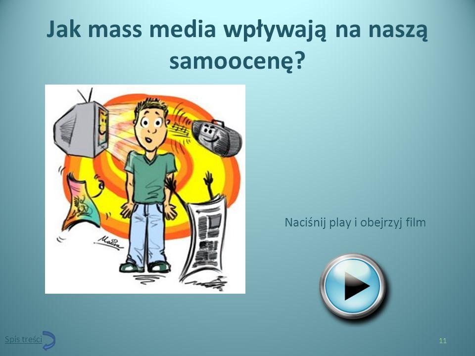 Jak mass media wpływają na naszą samoocenę? Naciśnij play i obejrzyj film 11 Spis treści