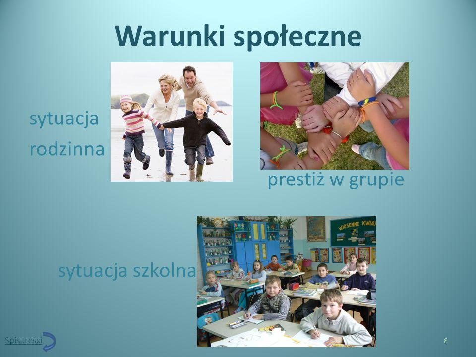 Warunki społeczne sytuacja rodzinna prestiż w grupie sytuacja szkolna 8 Spis treści