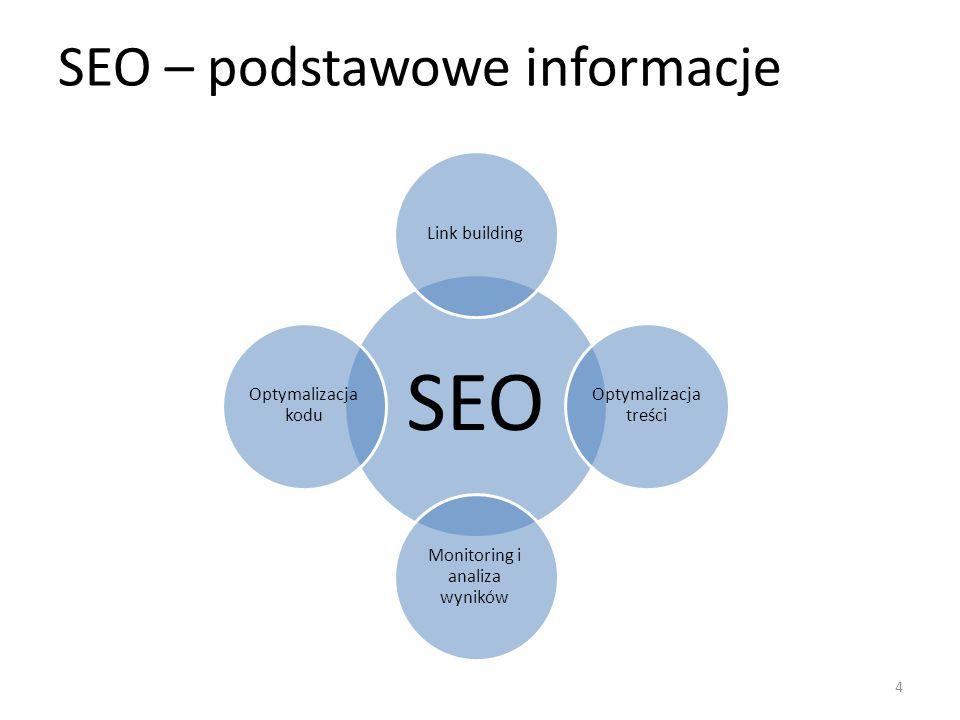 SEO – podstawowe informacje SEO Link building Optymalizacja treści Monitoring i analiza wyników Optymalizacja kodu 4