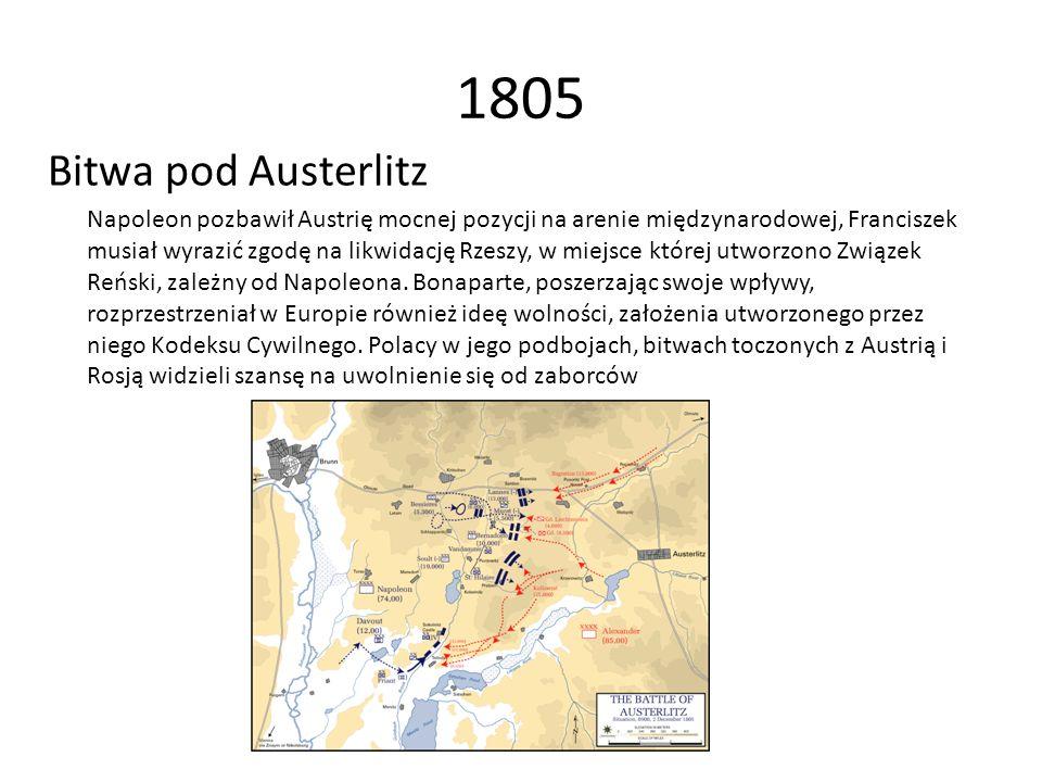 1805 Bitwa pod Austerlitz Napoleon pozbawił Austrię mocnej pozycji na arenie międzynarodowej, Franciszek musiał wyrazić zgodę na likwidację Rzeszy, w