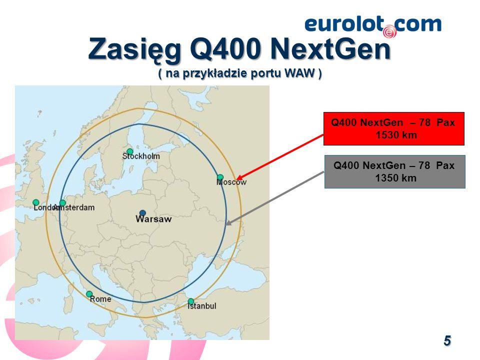 Zasięg Q400 NextGen ( na przykładzie portu WAW ) Q400 NextGen – 78 Pax 1530 km Q400 NextGen – 78 Pax 1350 km 5