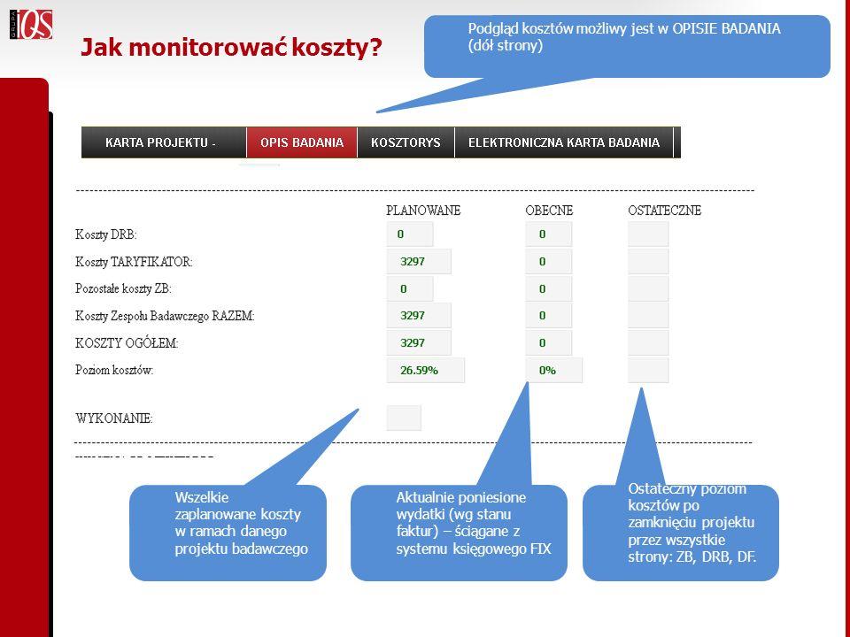 Jak monitorować koszty? Podgląd kosztów możliwy jest w OPISIE BADANIA (dół strony) Wszelkie zaplanowane koszty w ramach danego projektu badawczego Akt