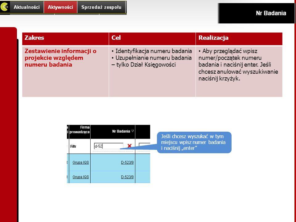 ZakresCelRealizacja Zestawienie informacji o projekcie względem numeru badania Identyfikacja numeru badania Uzupełnianie numeru badania – tylko Dział