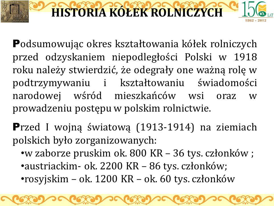HISTORIA KÓŁEK ROLNICZYCH P odsumowując okres kształtowania kółek rolniczych przed odzyskaniem niepodległości Polski w 1918 roku należy stwierdzić, że