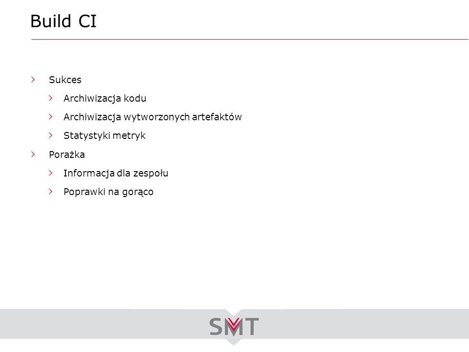 Build CI Sukces Archiwizacja kodu Archiwizacja wytworzonych artefaktów Statystyki metryk Porażka Informacja dla zespołu Poprawki na gorąco