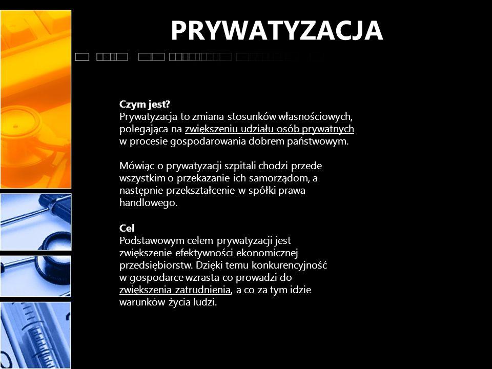 PRYWATYZACJA Czym jest? Prywatyzacja to zmiana stosunków własnościowych, polegająca na zwiększeniu udziału osób prywatnych w procesie gospodarowania d