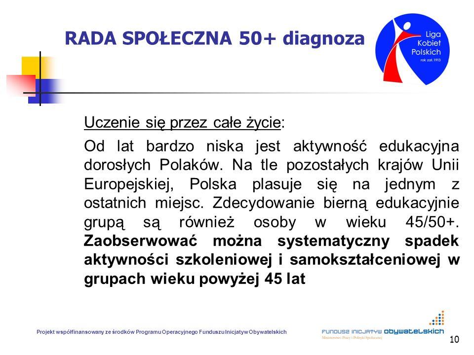 10 RADA SPOŁECZNA 50+ diagnoza Uczenie się przez całe życie: Od lat bardzo niska jest aktywność edukacyjna dorosłych Polaków. Na tle pozostałych krajó
