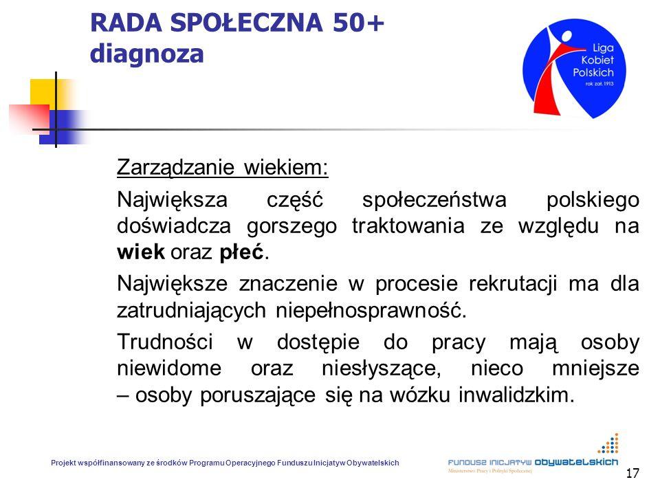 17 RADA SPOŁECZNA 50+ diagnoza Zarządzanie wiekiem: Największa część społeczeństwa polskiego doświadcza gorszego traktowania ze względu na wiek oraz p